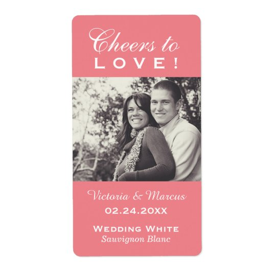Pink Wedding Photo Wine Bottle Favour Labels