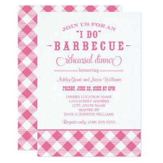 Pink Wedding Rehearsal Dinner   I Do BBQ 13 Cm X 18 Cm Invitation Card