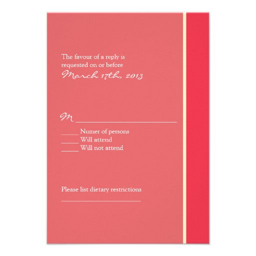 Pink Wedding RSVP Personalized Invitation