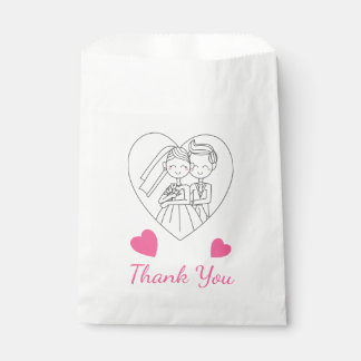 Pink Wedding Thank You Bride & Groom Heart Favour Bags