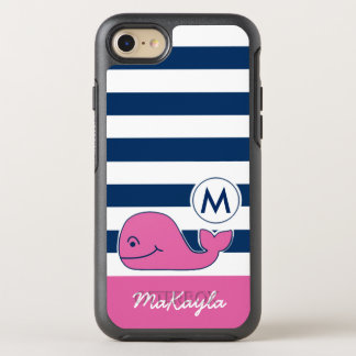 Pink Whale & Navy Stripes OtterBox Symmetry iPhone 7 Case