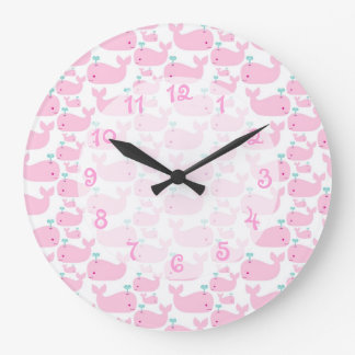 Pink Whale Nursery Large Clock