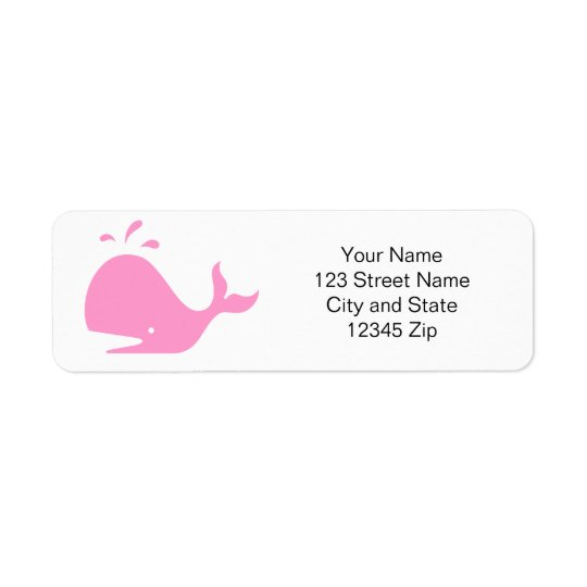 Pink whale return address labels