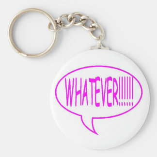 Pink Whatever Speech Bubble Basic Round Button Key Ring