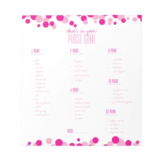 Pink What's in Your Purse Bridal Game Notepad