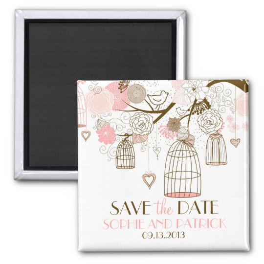 Pink Whimsical Birdcages Save the Date Magnet