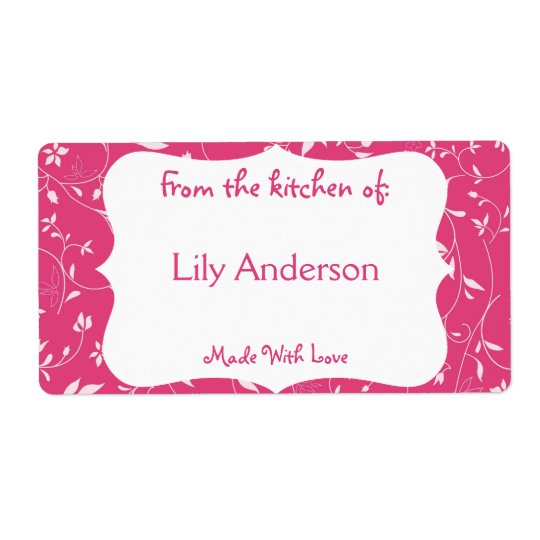 Pink Whimsical Canning Label