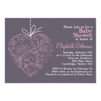 """Pink Whimsical Floral Heart Baby Shower Invitation 5"""" X 7"""" Invitation Card"""