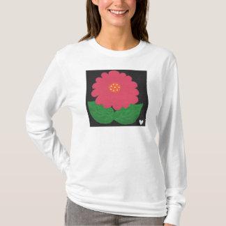 Pink WHIMSICAL FLOWER White Women's LS T-Shirt