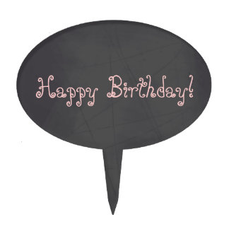 Pink Whimsical Happy Birthday Chalkboard Cake Toppers