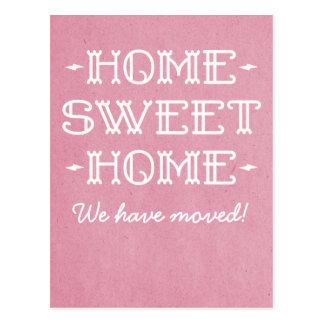 Pink Whimsical Home Sweet Home Postcard
