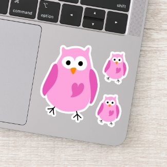 Pink whimsical owl stickers