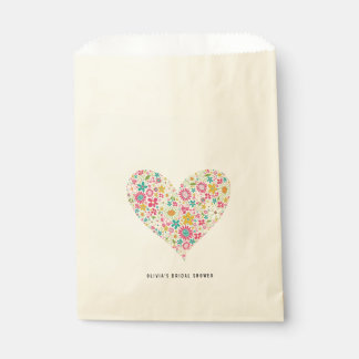 Pink Whimsical Spring Flowers Heart Love Wedding Favour Bags