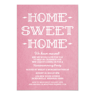Pink Whimsical Sweet Home Housewarming Party 13 Cm X 18 Cm Invitation Card