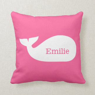 Pink Whimsical Whale Personalized Children's Throw Cushion