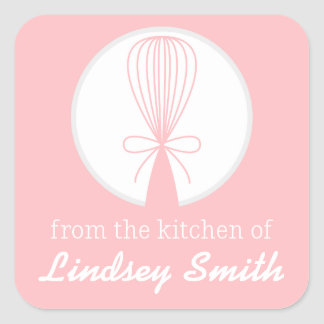 Pink Whisk Silhouette Kitchen Labels