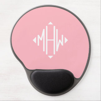 Pink White 3 Initials Diamond Shape Monogram Gel Mouse Pad