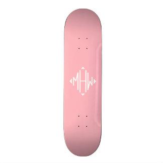 Pink White 3 Initials Diamond Shape Monogram Skate Board Decks