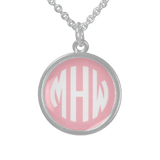 Pink White 3 Initials in a Circle Monogram Round Pendant Necklace
