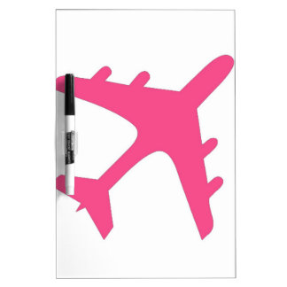 Pink white airplane design dry erase board