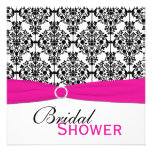 Pink, White, and Black Damask Bridal Shower Invite