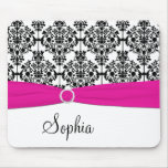Pink, White, and Black Damask Mousepad