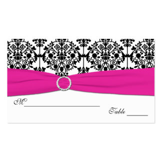 Pink White and Black Damask Placecards Business Cards