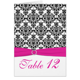 Pink, White and Black Damask Table Number Card