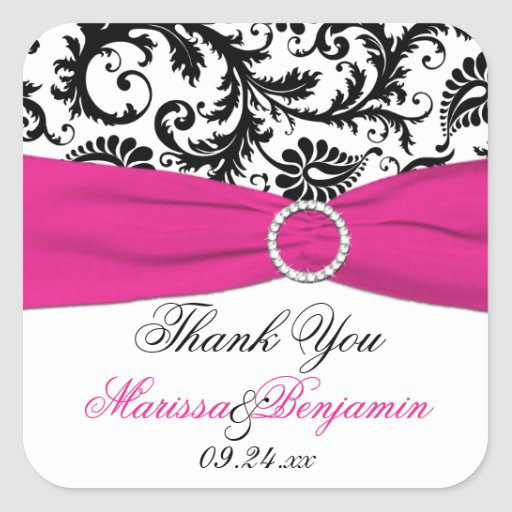 Pink, White, and Black Damask Thank You Sticker