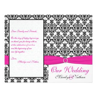 Pink White and Black Damask Wedding Program Flyers