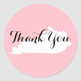 Pink White and Black Kentucky Wedding Thank You Classic Round Sticker
