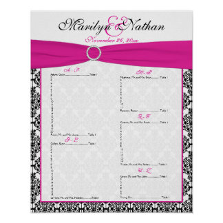 Pink, White, and Black Reception Seating Chart Poster