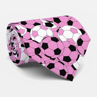 Pink, White and Black Soccer Ball Collage Tie