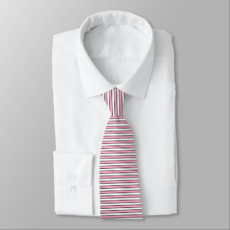 Pink, White and Black Stripes Tie