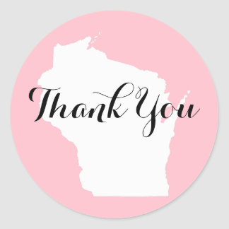 Pink White and Black Wisconsin Wedding Thank You Classic Round Sticker