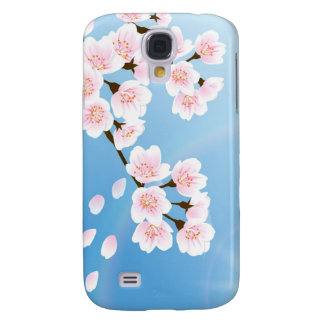 Pink White And Blue Cherry Blossom Galaxy S4 Case