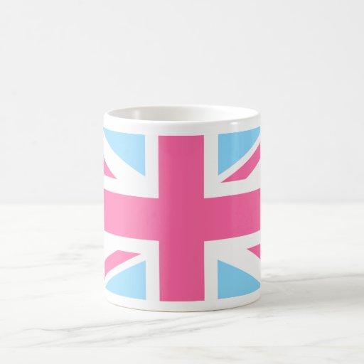Pink White and Blue Union Jack UK Flag Coffee Mug