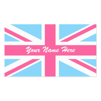 Pink White and Blue Union Jack UK Flag Pack Of Standard Business Cards
