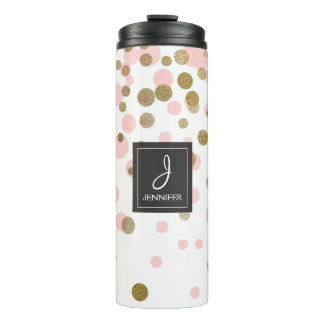 Pink, White and Gold Foil Confetti Monogram Thermal Tumbler