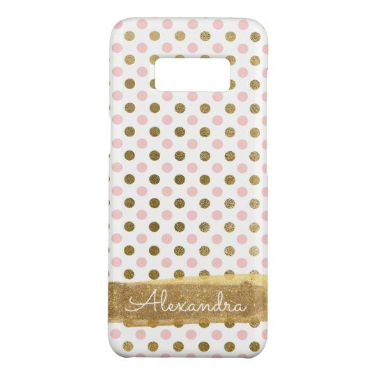 Pink, White and Gold Foil Polka Dot Monogram Case-Mate Samsung Galaxy S8 Case