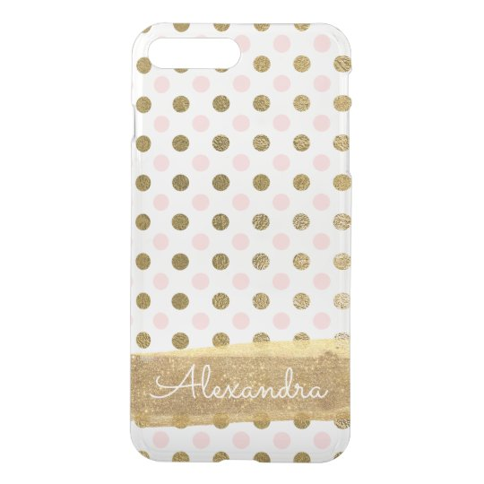Pink, White and Gold Foil Polka Dot Monogram iPhone 8 Plus/7 Plus Case