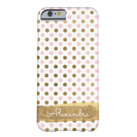 Pink, White and Gold Foil Polka Dot Name Barely There iPhone 6 Case