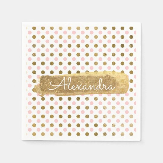 Pink, White and Gold Foil Polka Dot Name Disposable Napkin