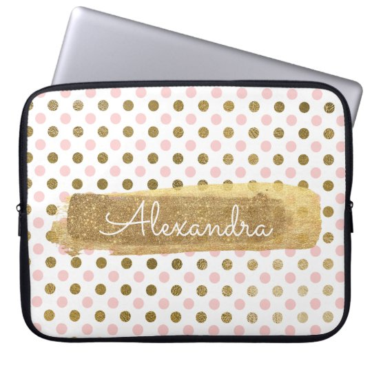 Pink, White and Gold Foil Polka Dot Name Laptop Sleeve
