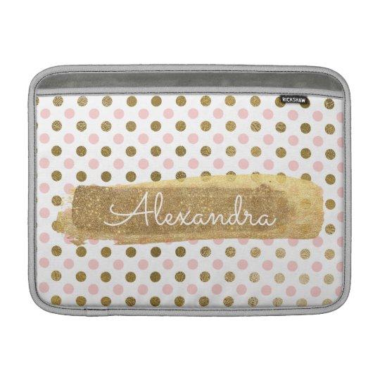 Pink, White and Gold Foil Polka Dot Name MacBook Sleeve
