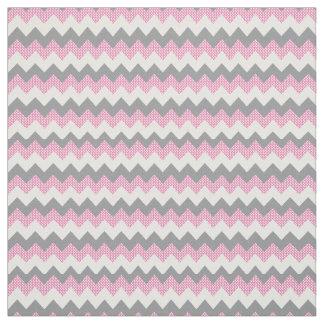 Pink, White and Gray Chevron Pattern Fabric