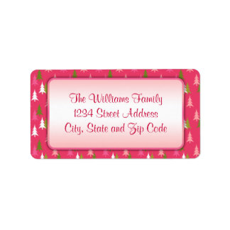 Pink White and Green Christmas Tree Pattern Address Label