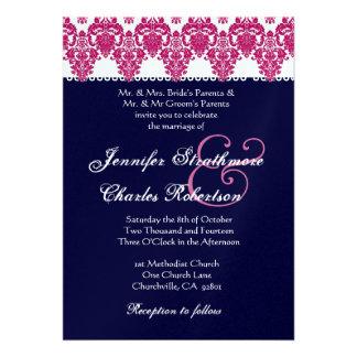 Pink White and Midnight Damask Wedding Invitation