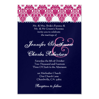 Pink, White and Midnight Damask Wedding Invitation