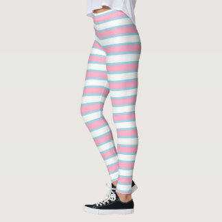 Pink, White and Pastel Blue Stripes Leggings